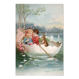 Easter Egg Bunny Boat Young Couple Landscape Photo Print