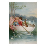 Easter Egg Bunny Boat Young Couple Landscape Posters