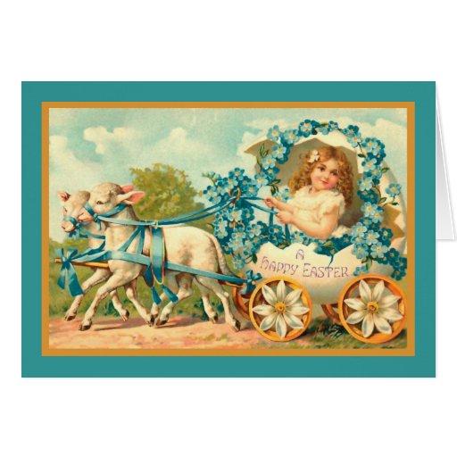 Easter Egg Carriage Vintage Christian Card