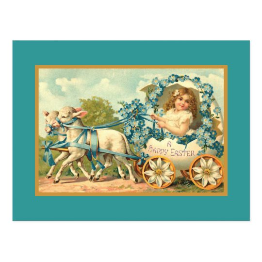 Easter Egg Carriage Vintage Floral Postcard