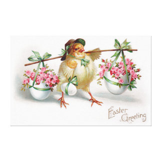 Easter Egg Chick Pink Rose Green Bow Canvas Print