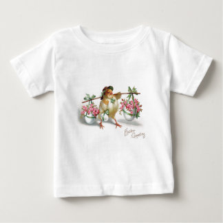 Easter Egg Chick Pink Rose Green Bow Tee Shirt