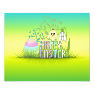 Easter egg, Chick, Snowdrop Colourful background Flyer Design