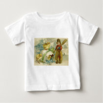 Easter Egg Chick Wind Mill Forget Me Not Baby T-Shirt