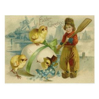 Easter Egg Chick Wind Mill Forget Me Not Postcard