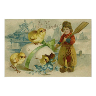 Easter Egg Chick Wind Mill Forget Me Not Print