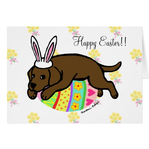 Easter Egg Chocolate Labrador Cartoon Card