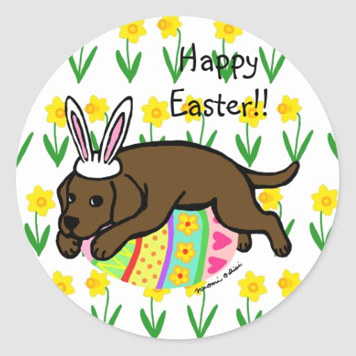 Easter Egg Chocolate Labrador Cartoon Classic Round Sticker