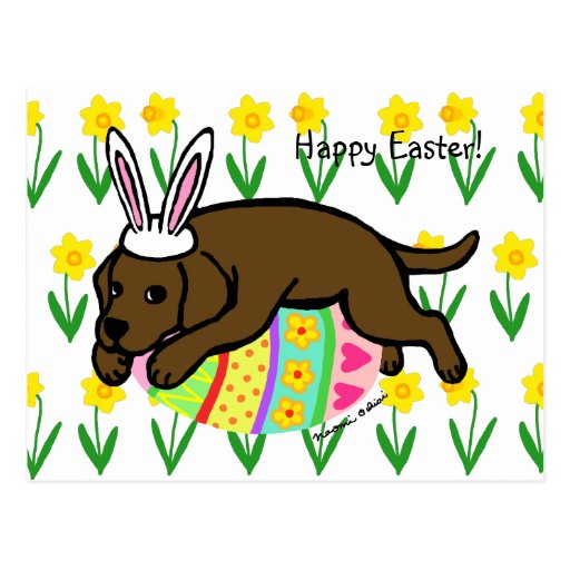 Easter Egg Chocolate Labrador Cartoon Postcard