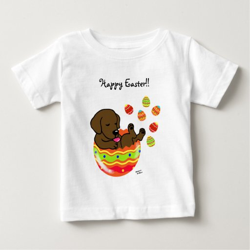 Easter Egg Chocolate Labrador Puppy Cartoon Baby T-Shirt
