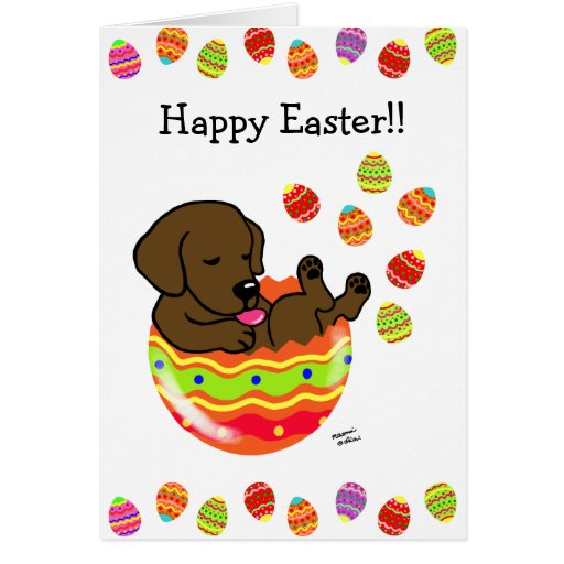 Easter Egg Chocolate Labrador Puppy Cartoon Card