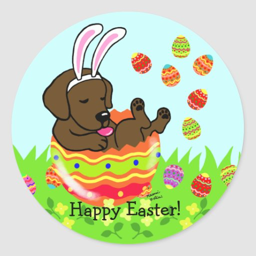 Easter Egg Chocolate Labrador Puppy Cartoon Classic Round Sticker