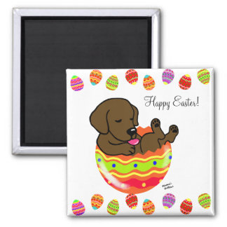 Easter Egg Chocolate Labrador Puppy Cartoon 2 Inch Square Magnet