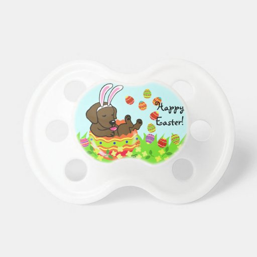 Easter Egg Chocolate Labrador Puppy Cartoon Pacifier