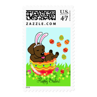 Easter Egg Chocolate Labrador Puppy Cartoon Stamp