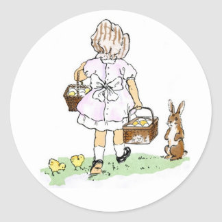 Easter egg collection classic round sticker