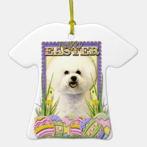 Easter Egg Cookies - Bichon Frise Double-Sided T-Shirt Ceramic Christmas Ornament