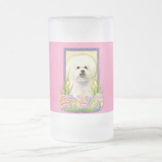 Easter Egg Cookies - Bichon Frise Frosted Glass Beer Mug