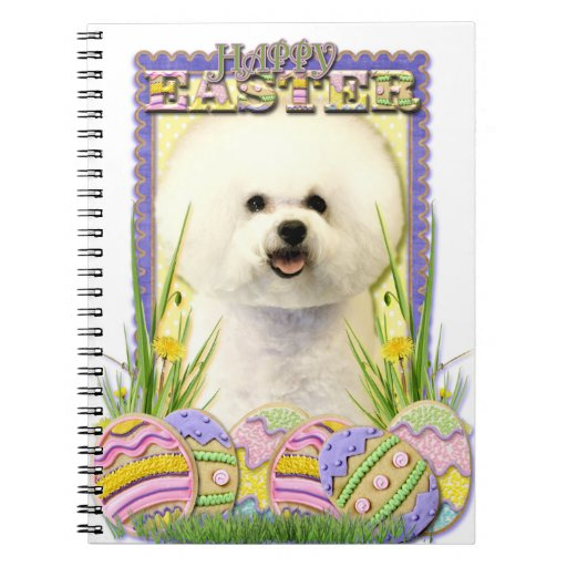 Easter Egg Cookies - Bichon Frise Spiral Notebooks