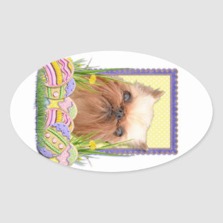 Easter Egg Cookies - Brussels Griffon Oval Sticker