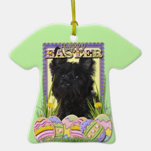 Easter Egg Cookies - Cairn Terrier Double-Sided T-Shirt Ceramic Christmas Ornament