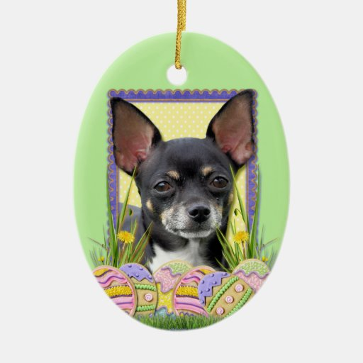 Easter Egg Cookies - Chihuahua Double-Sided Oval Ceramic Christmas Ornament
