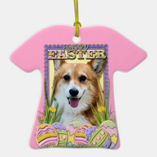 Easter Egg Cookies - Corgi Double-Sided T-Shirt Ceramic Christmas Ornament