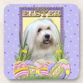 Easter Egg Cookies - Coton de Tulear Drink Coaster