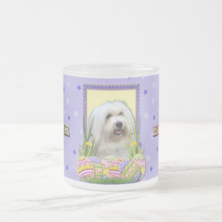 Easter Egg Cookies - Coton de Tulear Frosted Glass Coffee Mug