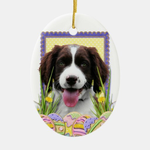 Easter Egg Cookies - English Springer Spaniel Double-Sided Oval Ceramic Christmas Ornament