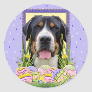 Easter Egg Cookies - Greater Swiss Mountain Dog Round Stickers