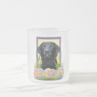 Easter Egg Cookies - Labrador - Black Frosted Glass Coffee Mug
