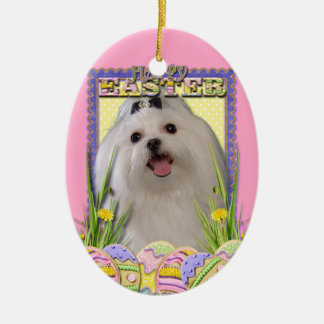 Easter Egg Cookies - Maltese Double-Sided Oval Ceramic Christmas Ornament
