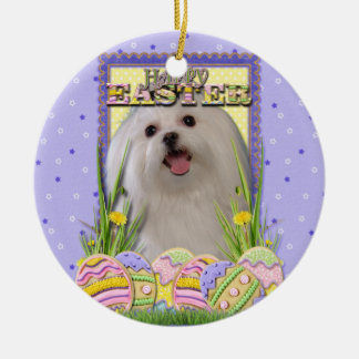 Easter Egg Cookies - Maltese Double-Sided Ceramic Round Christmas Ornament