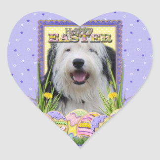 Easter Egg Cookies - Old English Sheepdog Heart Sticker
