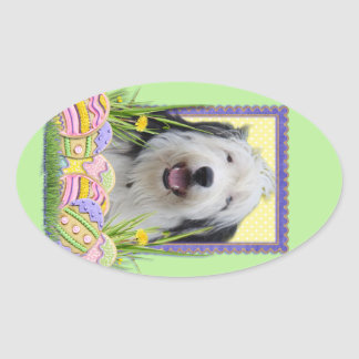 Easter Egg Cookies - Old English Sheepdog Oval Sticker