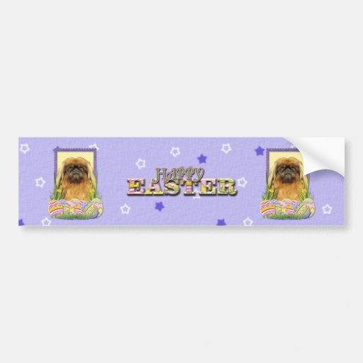 Easter Egg Cookies - Pekingese - Pebbles Car Bumper Sticker