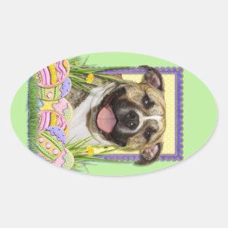 Easter Egg Cookies - Pitbull - Tigger Oval Sticker