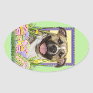 Easter Egg Cookies - Pitbull - Tigger Oval Stickers