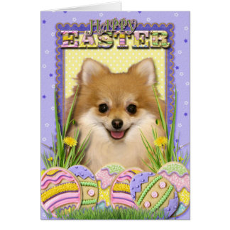 Easter Egg Cookies - Pomeranian Greeting Card