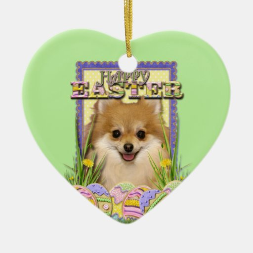 Easter Egg Cookies - Pomeranian Double-Sided Heart Ceramic Christmas Ornament