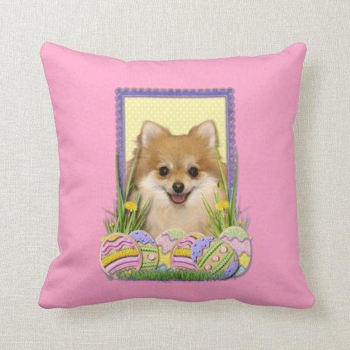 Easter Egg Cookies - Pomeranian Throw Pillows