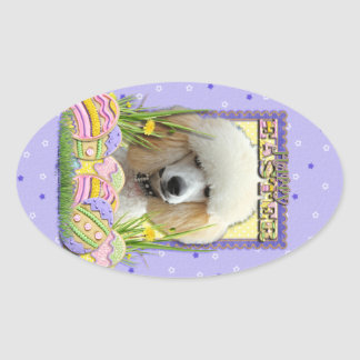 Easter Egg Cookies - Poodle - Apricot Oval Sticker