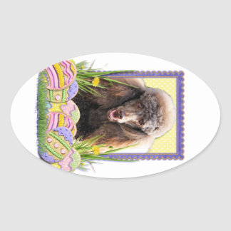 Easter Egg Cookies - Poodle - Chocolate Oval Sticker