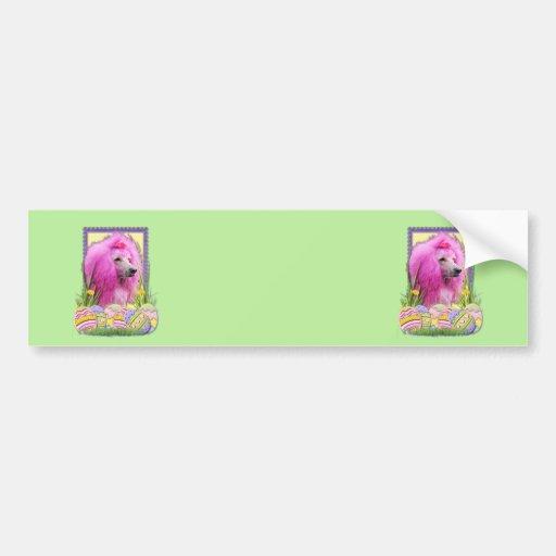 Easter Egg Cookies - Poodle - Pink Car Bumper Sticker