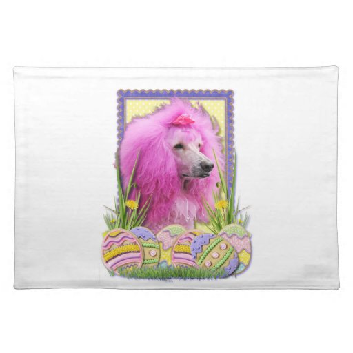 Easter Egg Cookies - Poodle - Pink Cloth Placemat
