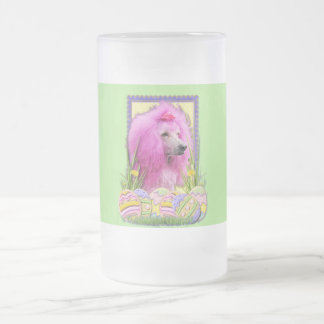 Easter Egg Cookies - Poodle - Pink Frosted Glass Beer Mug