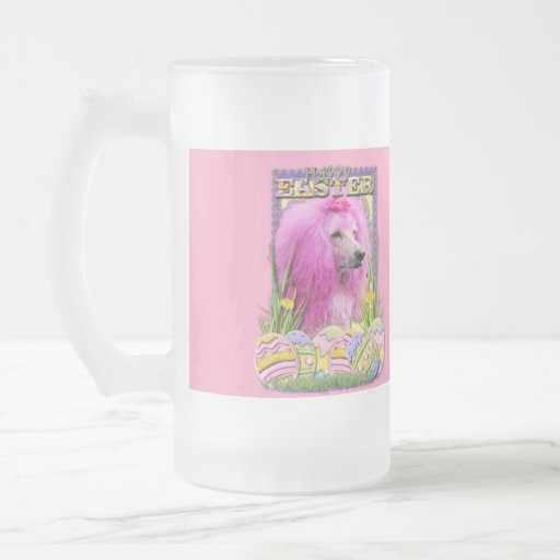 Easter Egg Cookies - Poodle - Pink 16 Oz Frosted Glass Beer Mug