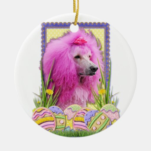 Easter Egg Cookies - Poodle - Pink Christmas Ornaments