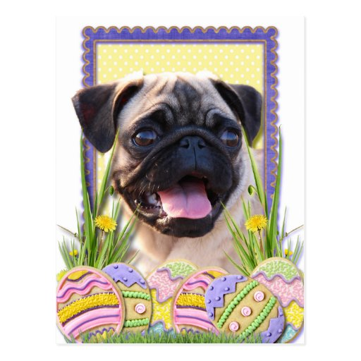 Easter Egg Cookies - Pug Postcard